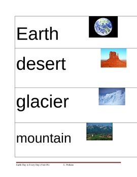 Earth Picture Vocabulary Cards