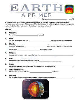 Earth Primer iPad App Question Sheets