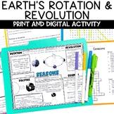 Earth Rotation Revolution Seasons NGSS Activity