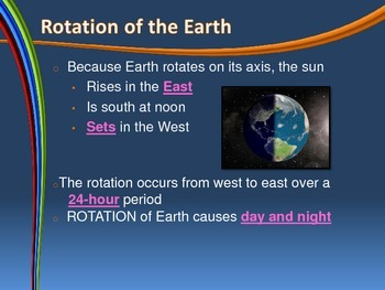 Earth Rotation and Revolution - Notes for Interactive Notebook