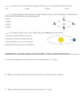 Earth Rotation and Revolution - Quiz (Multiple Choice and Extended Response)