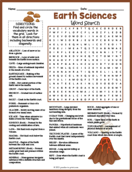earth science word search puzzle by puzzles to print tpt. Black Bedroom Furniture Sets. Home Design Ideas
