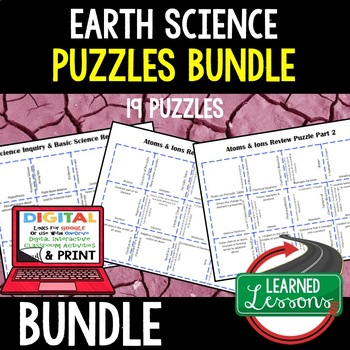 Earth Science 19 Review Puzzles Google & Print (Earth Science BUNDLE)
