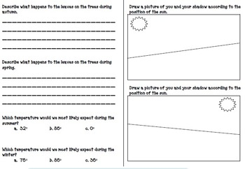Earth Science 2nd Grade Test (Shadows, sun, stars, constellation, & seasons)