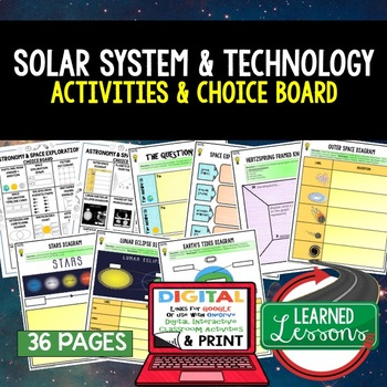 Earth Science Astronomy & Space Exploration Choice Board Activities Google