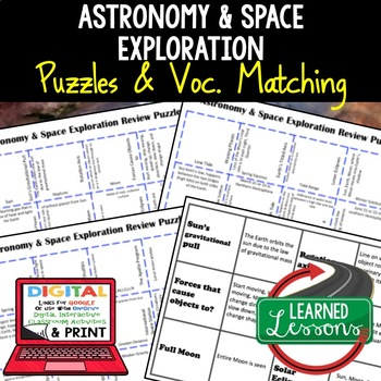 Earth Science Astronomy & Space Exploration Review Puzzles Google & Print
