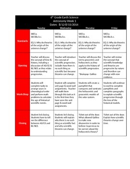 Earth Science Astronomy Unit Page 1 Lesson Plans