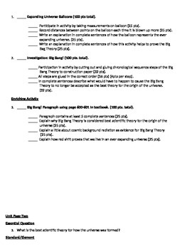 Earth Science Astronomy Unit Page 2 Activities:  Big Bang Theory