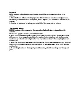 Earth Science Astronomy Unit Page 2:  Big Bang Theory Lesson Plans