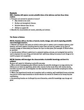 Earth Science Astronomy Unit Page 5: Planet Comparison Lesson Plans