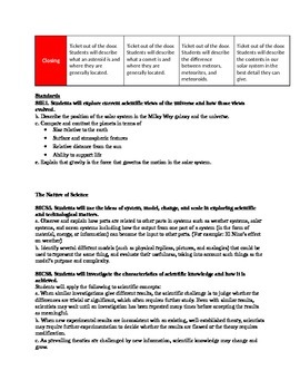 Earth Science Astronomy Unit Page 6: Comets, Meteors, Asteroids Lesson Plans