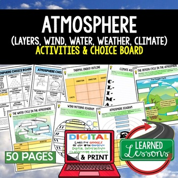 Earth Science Atmosphere Air Water Climate Weather CHOICE BOARD with Google Link