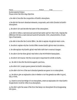 earth science atmosphere exam study guide by ryan hyser tpt rh teacherspayteachers com earth science regents exam study guide earth science exam study guide astronomy