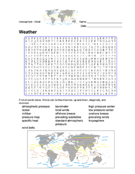 Earth Science - Weather -  Atmosphere and Weather - Wordsearch Puzzle