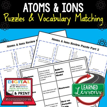 Earth Science Atoms and Ions Puzzle Google and Print