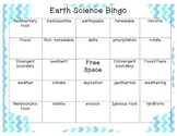 Earth Science Bingo