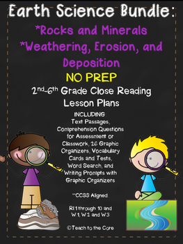Rocks/Minerals and Weathering Bundle NO PREP Close Reading Plans Gr. 2-6