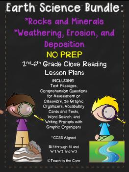 Rocks/Minerals and Weathering Bundle NO PREP Close Reading