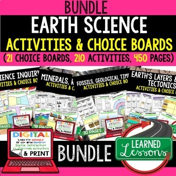 Earth Science Choice Board Activities BUNDLE Google & Paper Earth Science Bundle