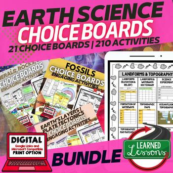 Earth Science Choice Board Activities BUNDLE Google & Pape