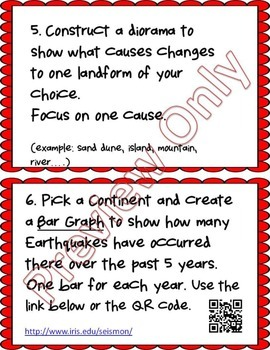 Earth Science Differentiated Choice Board Task Cards