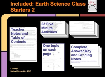 Earth Science Class Starters: Earth History, Meteorology, Astronomy