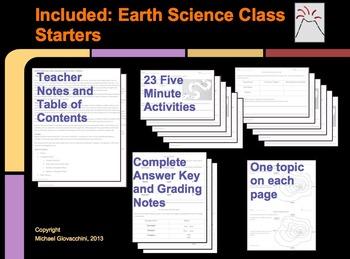 Earth Science Class Starters: Maps, Tectonics, Rocks, Erosion