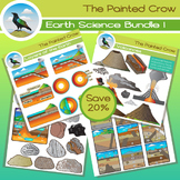 Earth Science Clip Art Bundle - 108 Piece Geology Set - Color and Blackline