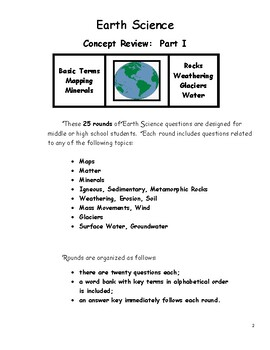 Earth Science Concept Review Part I