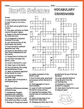 Earth Science Crossword Puzzle Answer Key | printable ascii