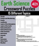 Earth Science Crossword Puzzles Bundle: Weather, Clouds, Plate Tectonics etc.