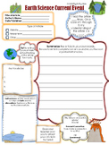 Current Event Worksheet - Earth Science