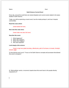 Earth Science Current Event Editable