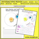 Interactive Notebook - Days, Months, Years - Rotation, Revolution