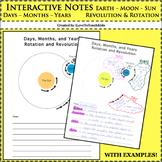Interactive Notebook - Days, Months, Years - Rotation, Revolution