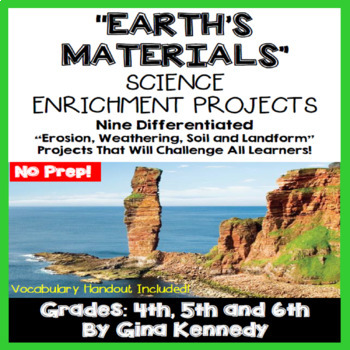 Landforms, Erosion, and Weathering Projects, Plus Vocabulary Handout