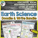 Earth Science Doodle & Write Bundle - Volcanoes, Weathering, Rocks, Space & More