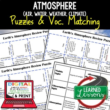 Earth Science Earth's Atmosphere Review Puzzles