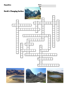 Earth Science - Earth's Changing Surface - Deposition - Crossword Puzzle