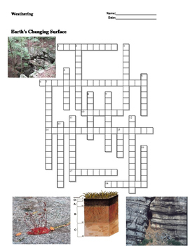 Earth Science - Earth's Changing Surface - Weathering - Crossword Puzzle