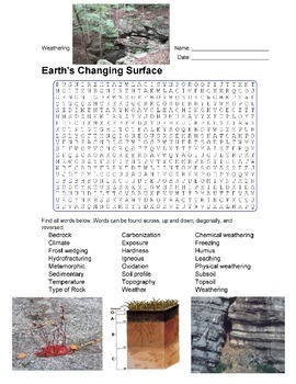 Earth Science - Earth's Changing Surface - Weathering Wordsearch Puzzle