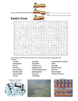 Earth Science - Earth's Crust - Stress, Structure, and Earthquakes Wordsearch