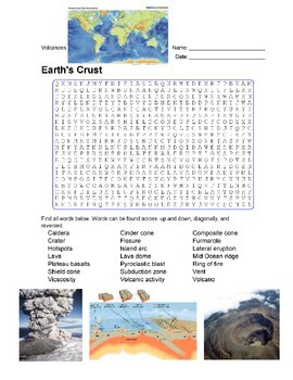 Earth Science - Earth's Crust - Volcanoes Wordsearch Puzzle