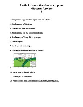 Earth Science Erosion, Deposition, and Earthquakes Vocabulary Review Activity