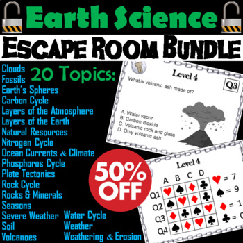 Escape Room Science Bundle: Earth (Rock Cycle, Weather, Plate Tectonics, etc.)