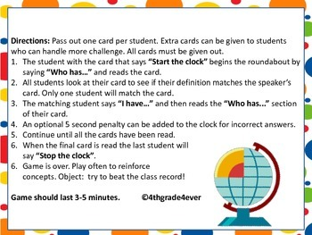 Earth Science Expanded Version: I Have Who Has? Game