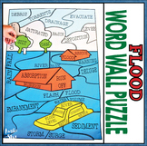 Earth Science Natural Disasters - Flood Word Wall Puzzle