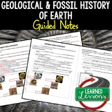 Earth Science Geological Timelines and Fossils Guided Notes