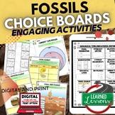 Fossils Activities, Choice Board, Google Classroom, Print & Digital