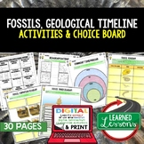 Fossils Activities, Choice Board, Google Classroom, Print